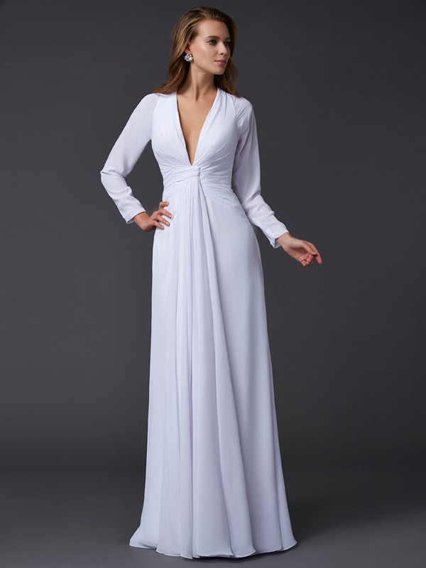 Creative Courage Sheath Style V-neck Ruched Long Chiffon Dresses