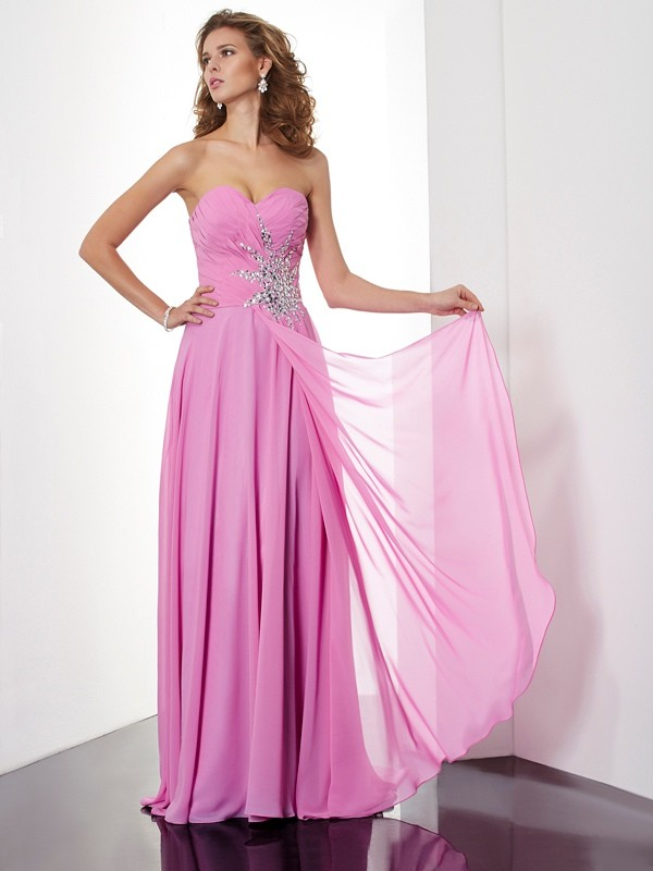 Voiced Vivacity Princess Style Sweetheart Ruched Long Chiffon Dresses