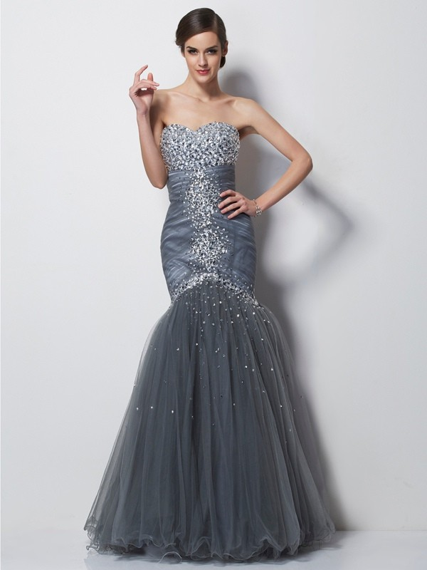 Styled to Smile Mermaid Style Sweetheart Beading Long Net Dresses