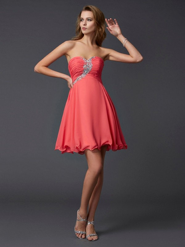 Confident Option Princess Style Sweetheart Beading Short Chiffon Homecoming Dresses