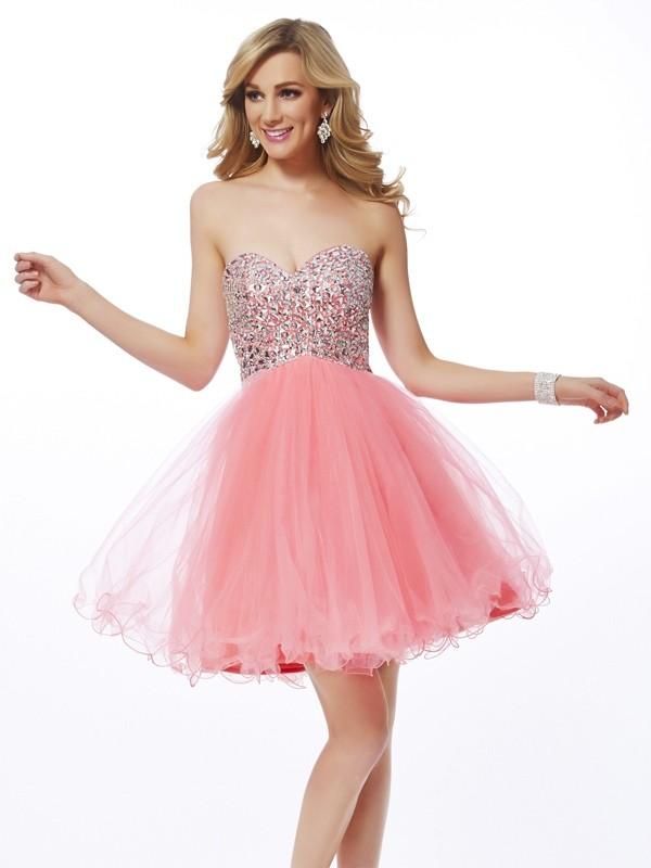 Visual Moment Princess Style Sweetheart Beading Short Net Homecoming Dresses