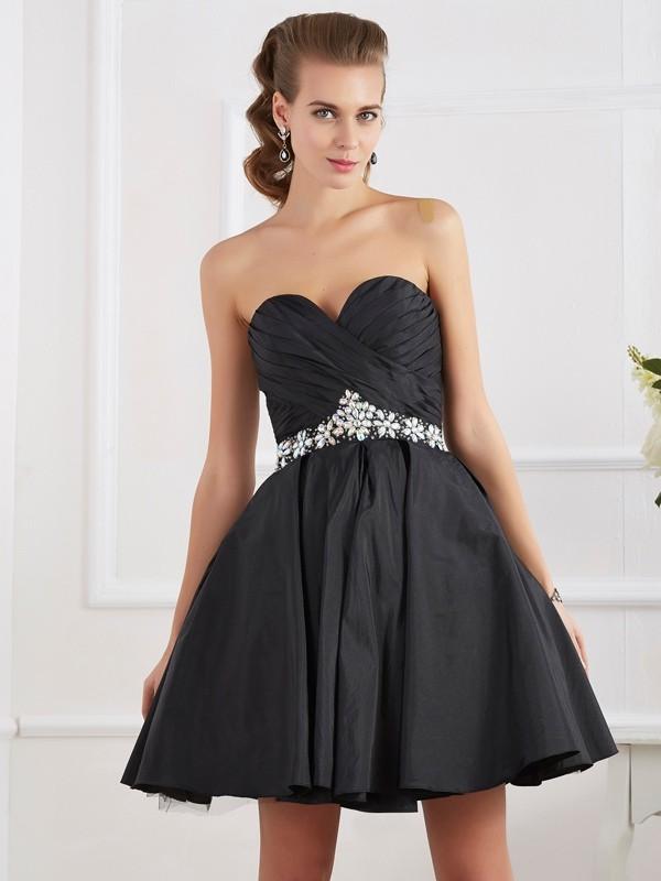 Cheerful Spirit Princess Style Sweetheart Beading Short Taffeta Homecoming Dresses