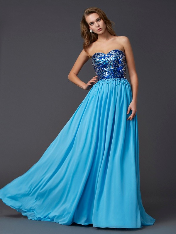 Too Much Fun Princess Style Sweetheart Paillette Long Chiffon Dresses