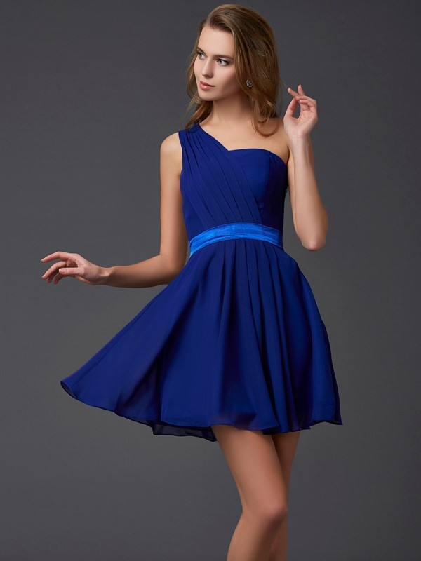 Just My Style Princess Style One-Shoulder Pleats Short Chiffon Homecoming Dresses
