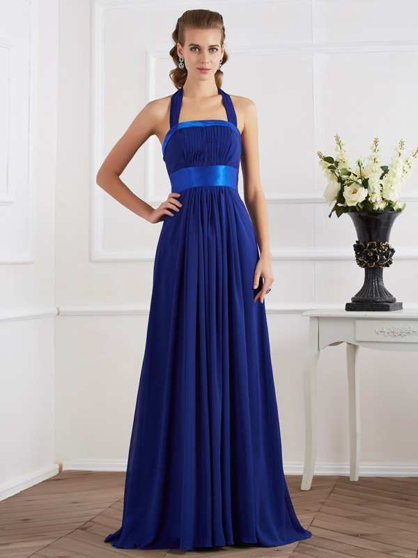 Defined Shine Princess Style Halter Ruched Long Chiffon Dresses
