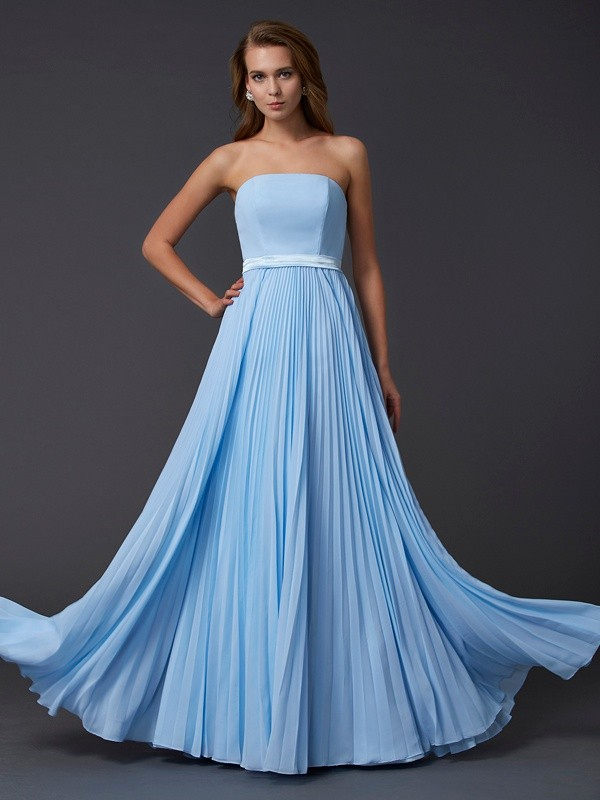Dashing Darling Princess Style Strapless Ruched Long Chiffon Dresses