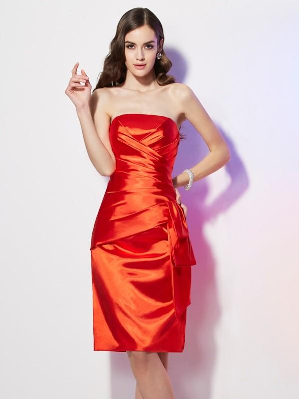 Glitz the Spot Sheath Style Strapless Pleats Short Elastic Woven Satin Dresses