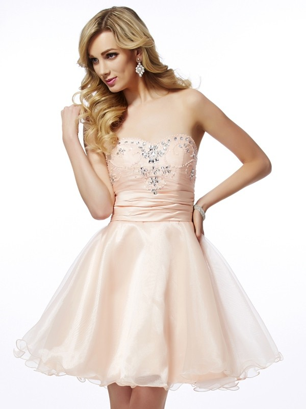 Eye-Catching Charm Princess Style Sweetheart Beading Short Tulle Homecoming Dresses