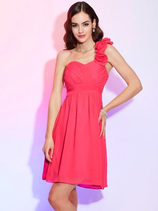 Pleasant Emphasis Princess Style One-Shoulder Pleats Short Chiffon Homecoming Dresses
