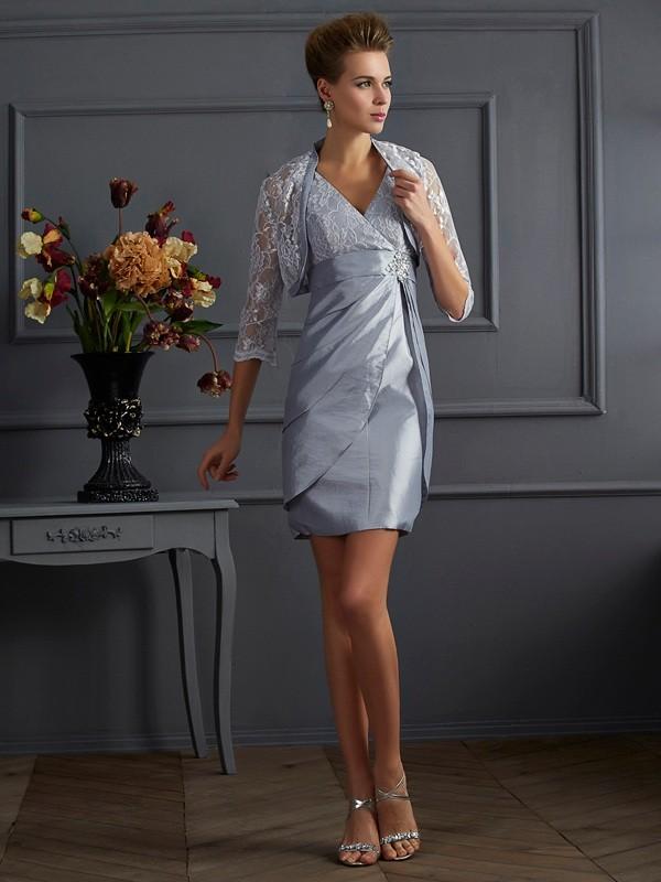 Fabulous Fit Sheath Style V-neck Short Taffeta Mother of the Bride Dresses