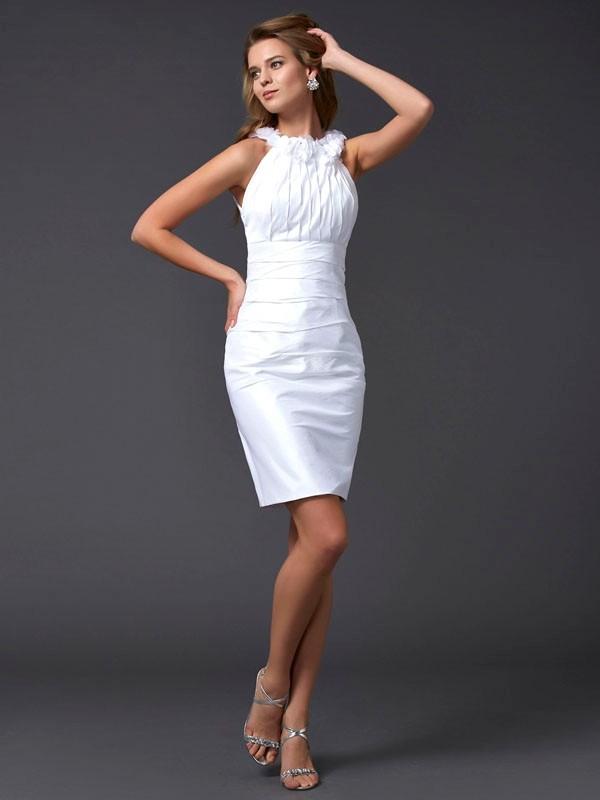 Visual Moment Sheath Style High Neck Hand-Made Flower Short Taffeta Homecoming Dresses