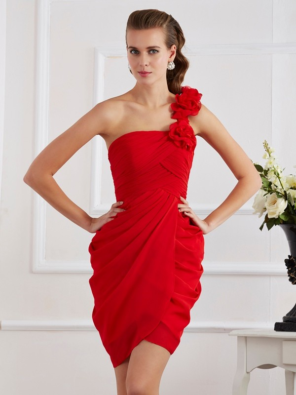 Too Much Fun Sheath Style One-Shoulder Hand-Made Flower Short Chiffon Homecoming Dresses