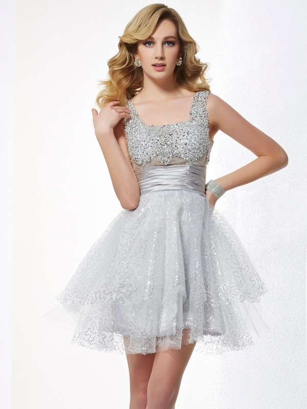 Dancing Queen Princess Style Straps Beading Short Elastic Woven Satin Homecoming Dresses