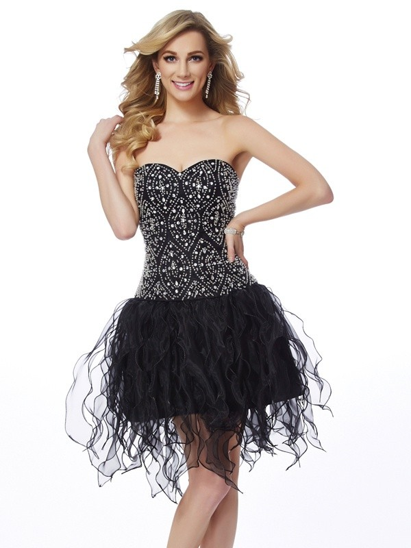 Memorable Magic Sheath Style Sweetheart Beading Short Organza Homecoming Dresses