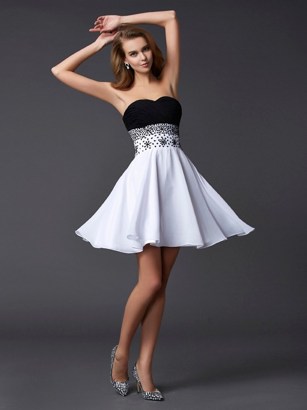 Stylish Refresh Princess Style Sweetheart Beading Short Chiffon Homecoming Dresses
