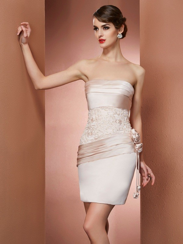 Just My Style Sheath Style Strapless Hand-Made Flower Short Satin Homecoming Dresses