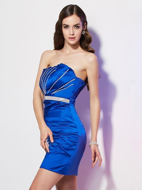 Defined Shine Sheath Style Strapless Beading Short Satin Homecoming Dresses