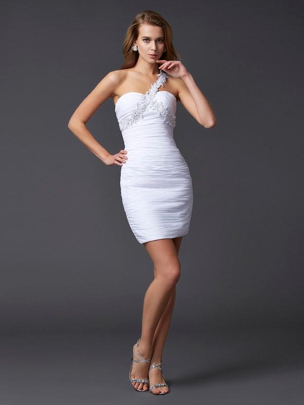Fresh Picks Sheath Style One-Shoulder Applique Beading Short Chiffon Homecoming Dresses