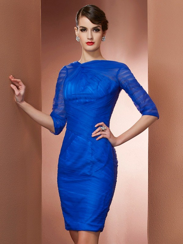 Touch of Texture Sheath Style High Neck Pleats Short Elastic Woven Satin Homecoming Dresses