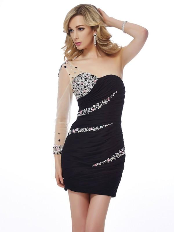 Naturally Chic Sheath Style One-Shoulder Beading Short Chiffon Homecoming Dresses