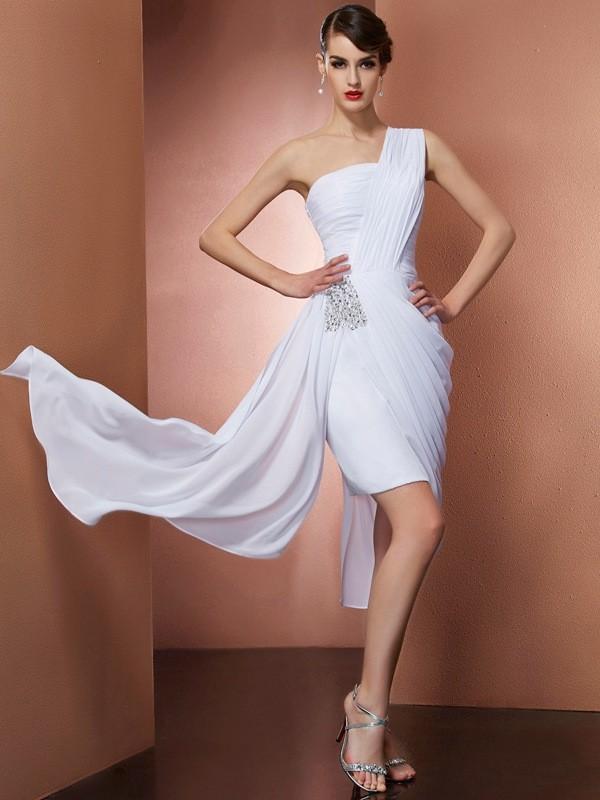 Befits Your Brilliance Sheath Style One-Shoulder Pleats Beading Short Chiffon Homecoming Dresses