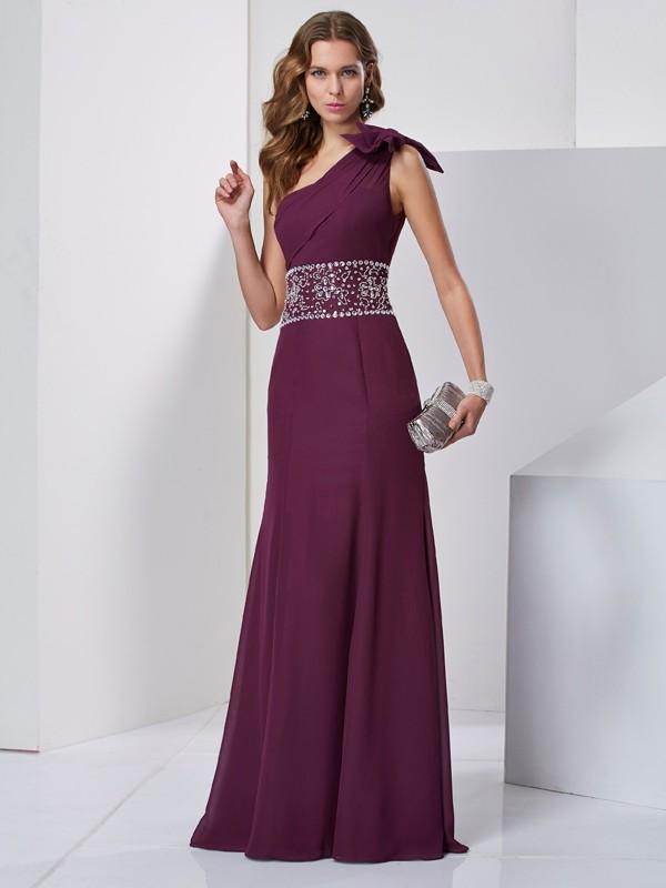 Eye-Catching Charm Princess Style One-Shoulder Beading Long Chiffon Dresses