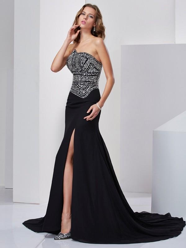 Intuitive Impact Princess Style Strapless Beading Long Chiffon Dresses