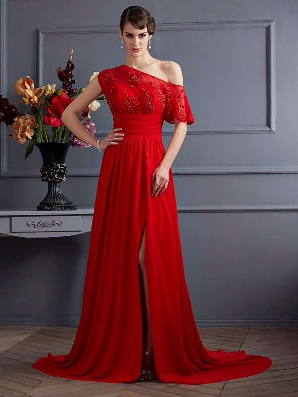 Desired Spotlight Princess Style One-Shoulder Applique Long Chiffon Dresses