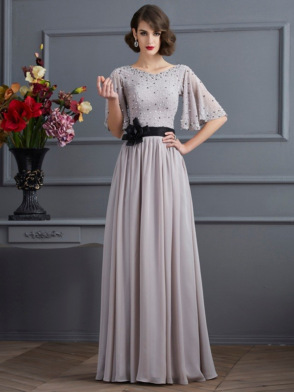 Automatic Classic Princess Style High Neck Beading Long Chiffon Dresses