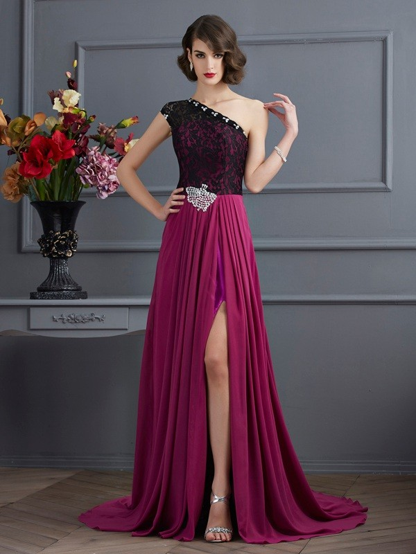 Sweet Sensation Princess Style One-Shoulder Lace Long Chiffon Dresses