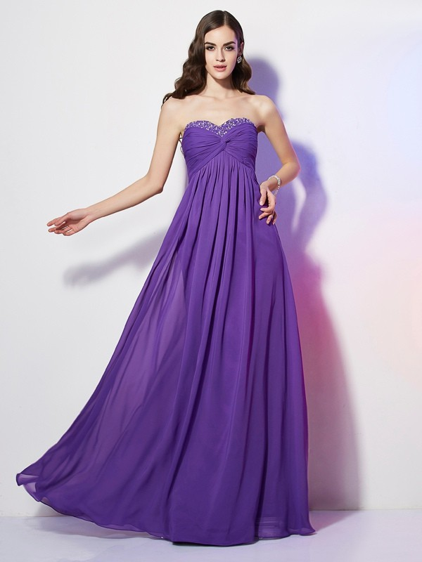 Styled to Smile Princess Style Sweetheart Beading Long Chiffon Dresses
