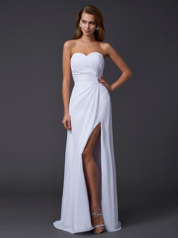 Confident Option Sheath Style Sweetheart Pleats Long Chiffon Dresses