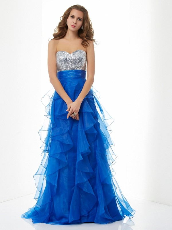 Open to Adoration Princess Style Sweetheart Paillette Long Satin Dresses