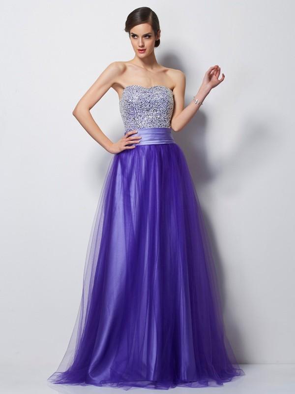 Memorable Magic Princess Style Sweetheart Beading Long Net Dresses