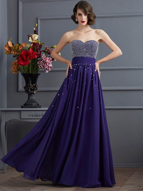 Stylish Refresh Princess Style Sweetheart Beading Long Chiffon Dresses