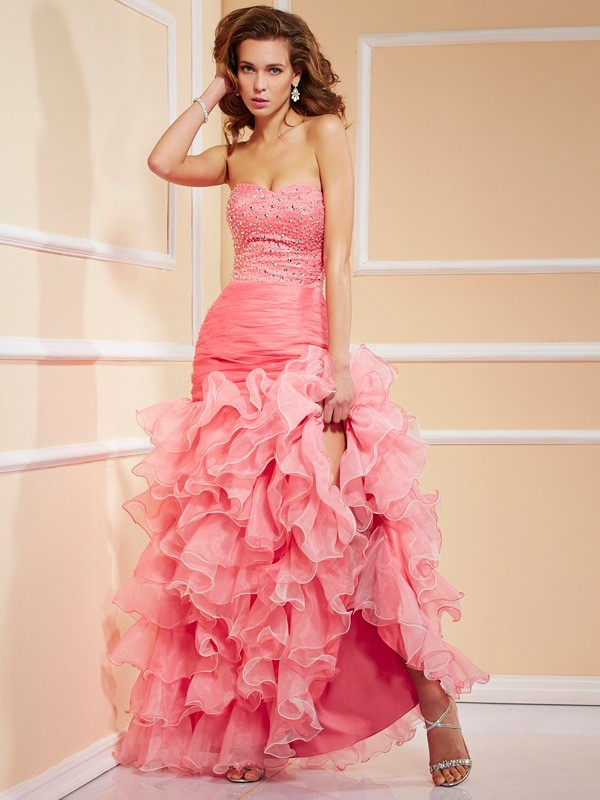 Vibrant Stylist Mermaid Style Sweetheart Ruffles High Low Organza Dresses
