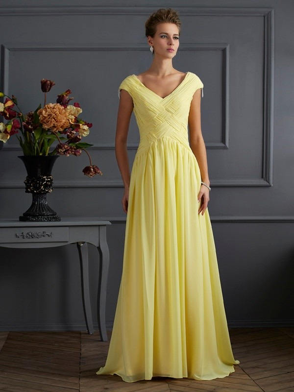 Touch of Texture Princess Style V-neck Pleats Long Chiffon Dresses