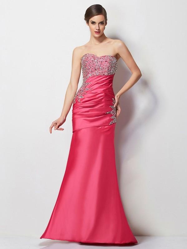 Easily Adored Mermaid Style Sweetheart Beading Long Taffeta Dresses