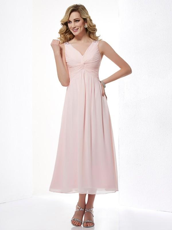 Modern Mood Princess Style V-neck Pleats Short Chiffon Dresses