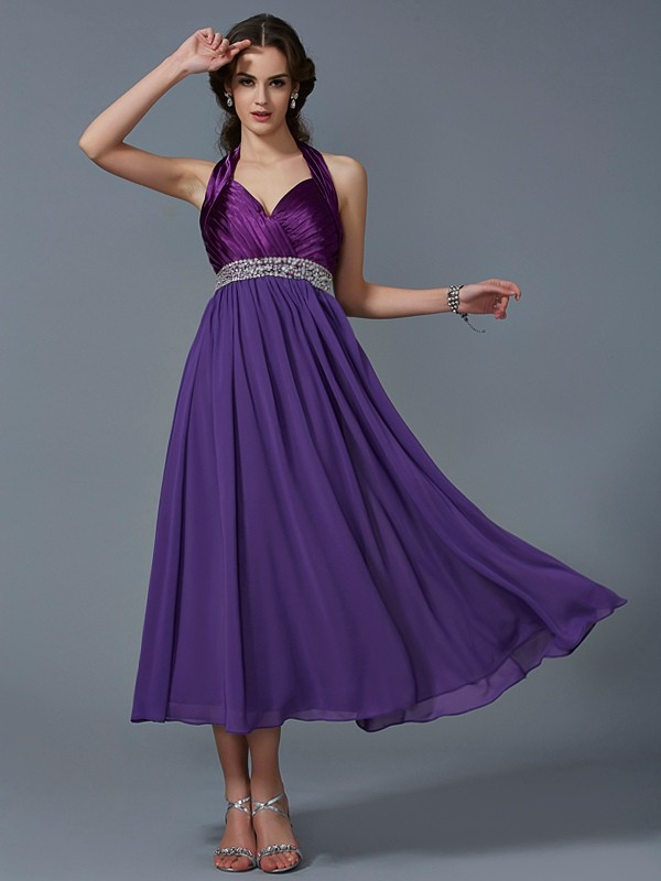 Pleasant Emphasis Princess Style Halter Beading Long Chiffon Bridesmaid Dresses