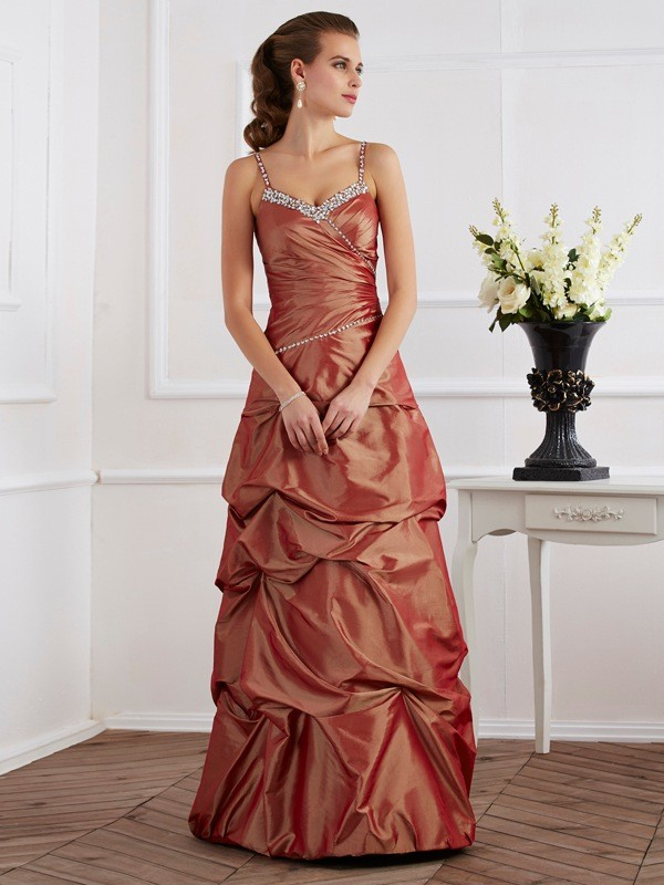 Treasured Reveries Sheath Style Spaghetti Straps Beading Long Taffeta Dresses
