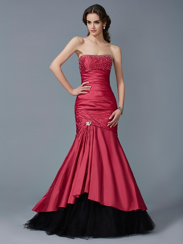 Comfortably Chic Mermaid Style Strapless Beading Long Taffeta Dresses