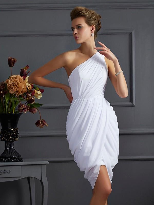 Automatic Classic Sheath Style One-Shoulder Pleats Short Chiffon Homecoming Dresses