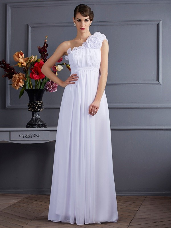 Cordially Delighted Princess Style One-Shoulder Pleats Applique Long Chiffon Dresses