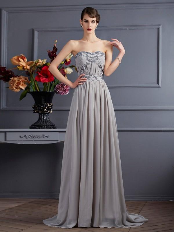 Pretty Looks Princess Style Sweetheart Beading Pleats Long Chiffon Dresses