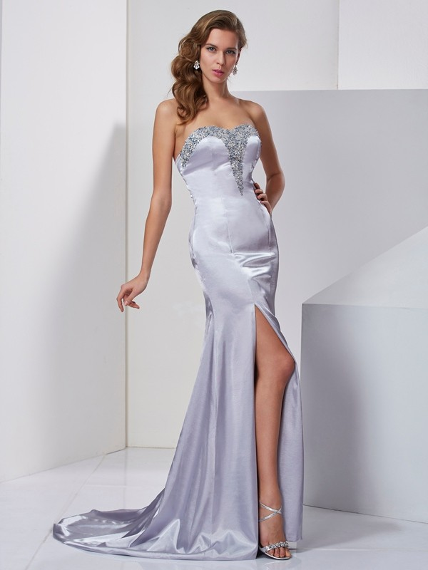 Dancing Queen Princess Style Sweetheart Beading Long Elastic Woven Satin Dresses