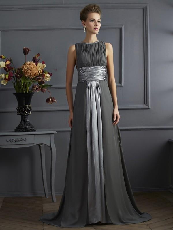 Just My Style Princess Style High Neck Pleats Long Chiffon Dresses