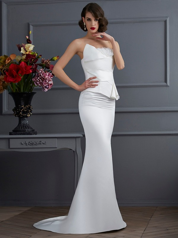 Romantic Vibes Mermaid Style Strapless Hand-Made Flower Long Satin Dresses