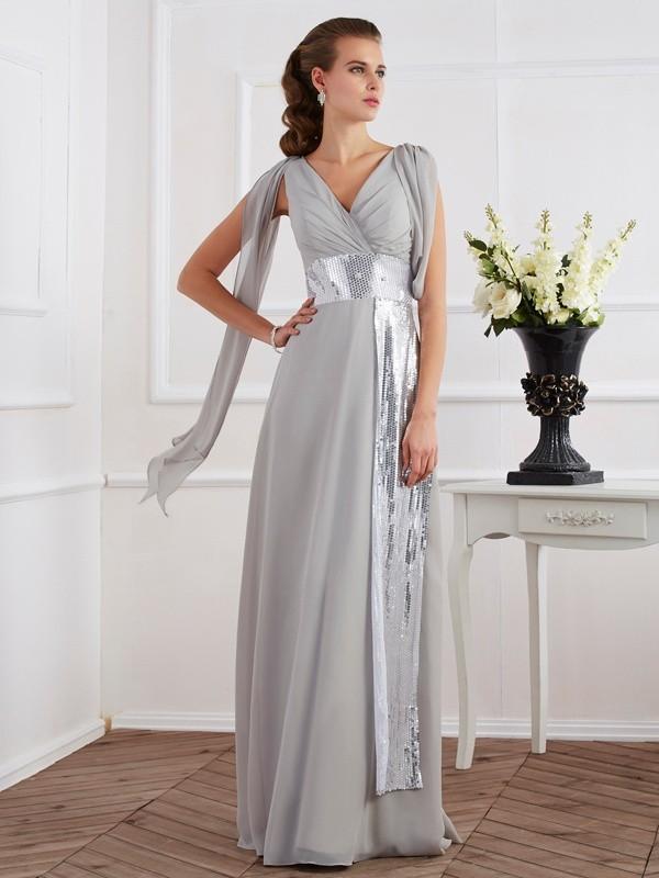 Modern Mood Sheath Style V-neck Lace Long Chiffon Dresses