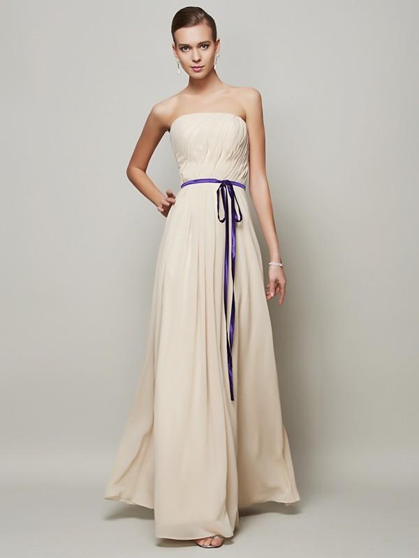 Voiced Vivacity Princess Style Strapless Sash/Ribbon/Belt Long Chiffon Dresses